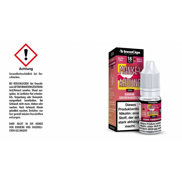 Monkey Around Bananen-Amarenakirsche Aroma - InnoCigs Liquid für E-Zigaretten 18mg/ml
