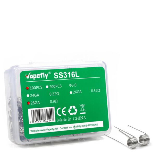 Vapefly 100x SS316L 28GA Prebuild Coil