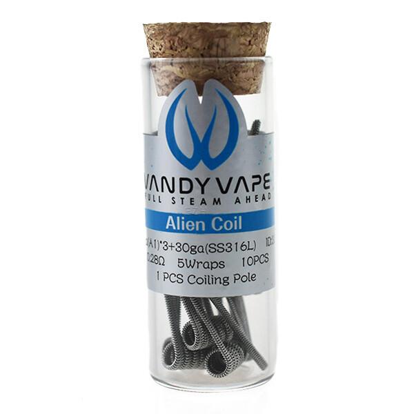 Vandy Vape 10x Prebuilt A1 SS316L Alien Coil 26ga*3/30ga 0.28 Ohm