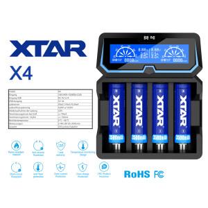Xtar X4 - 4-Schacht Ladegerät für Lithium Ionen...