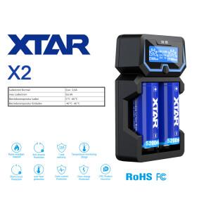 Xtar X2 - 2-Schacht Ladegerät für Lithium Ionen...