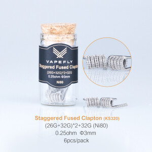 Vapefly 6x Prebuilt Ni80 Staggered Fused Clapton Coil...