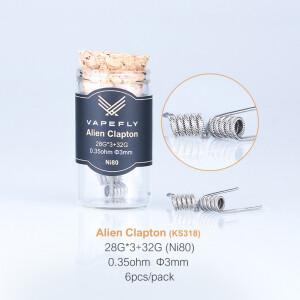 Vapefly 6x Prebuilt Ni80 Alien Clapton Coil 0.35 Ohm...
