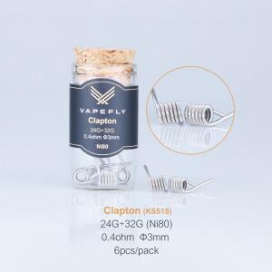 Vapefly 6x Prebuilt Ni80 Clapton Coil 0.4 Ohm (24GA+32GA)...