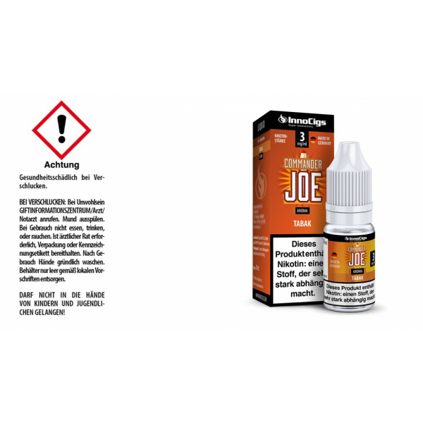 Commander Joe - Tabak - InnoCigs Liquid für E-Zigaretten 3 mg/ml