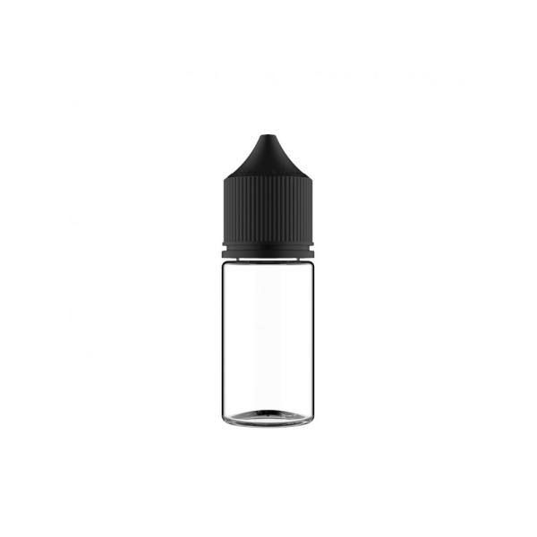 Flasche transparent + schwarze Cap