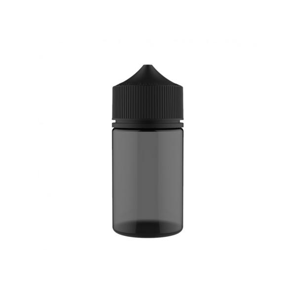 Flasche schwarz transparent + schwarze Cap